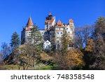 the medieval castle of bran... | Shutterstock . vector #748358548