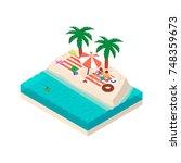 isometric girl and boy relaxing ... | Shutterstock .eps vector #748359673