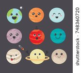 cute and funny planet laughing... | Shutterstock .eps vector #748360720