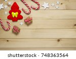 christmas gifts and ornaments...   Shutterstock . vector #748363564