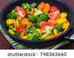 carrots  broccoli  tomatoes  in ... | Shutterstock . vector #748363660