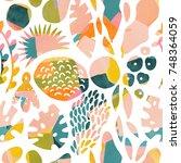 watercolour tropical modern... | Shutterstock . vector #748364059