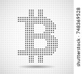 abstract sign bitcoin of dots.... | Shutterstock .eps vector #748369528