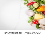 food cooking background  white... | Shutterstock . vector #748369720