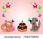 a cat and a dog next to a cake... | Shutterstock .eps vector #748370890