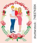 pregnant couple christmas card | Shutterstock .eps vector #748374304