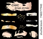 set of chic grunge golden ink... | Shutterstock .eps vector #748377940