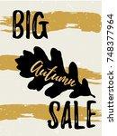autumn sale golden lettering... | Shutterstock .eps vector #748377964