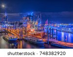 panorama of the blue harbour of ... | Shutterstock . vector #748382920