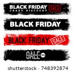 black friday banner on grunge... | Shutterstock .eps vector #748392874