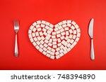 love sugar. heart from sugar... | Shutterstock . vector #748394890