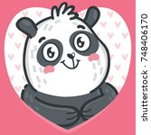 cute panda character in love on ... | Shutterstock .eps vector #748406170