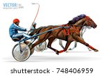 jockey and horse. two racing... | Shutterstock .eps vector #748406959