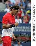 Small photo of NEW YORK - AUGUST 31, 2017: Grand Slam champion Roger Federer of Switzerland in action during his US Open 2017 round 2 match at Billie Jean King National Tennis Center