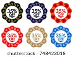 35  off discount sticker. set...   Shutterstock .eps vector #748423018