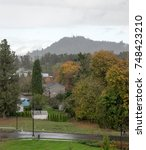 Small photo of View of Springfield Oregon River Road Community from 60 feet up in autumn on a rainy day with many olive and drab greens, hill, and grey sky
