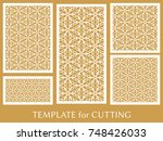 decorative panels set for laser ... | Shutterstock .eps vector #748426033