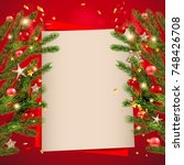 red background template with... | Shutterstock .eps vector #748426708