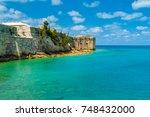 bermuda king's wharf wall up... | Shutterstock . vector #748432000