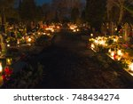 Small photo of Pruszcz Gdanski, Poland - November 2, 2017: Pruszcz Gdanski cemetery at All Souls' Day.