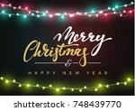 merry christmas greeting card... | Shutterstock . vector #748439770