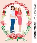 pregnant couple christmas card | Shutterstock .eps vector #748440460
