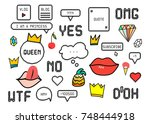 patch fashion collection.... | Shutterstock . vector #748444918