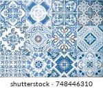 ceramic tile pattern elegant... | Shutterstock . vector #748446310