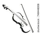 stylized violin icon logo... | Shutterstock .eps vector #748448008