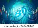 bit coin and us dollar digital... | Shutterstock . vector #748460146