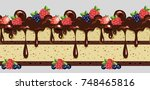 chocolate cake. seamless pattern | Shutterstock .eps vector #748465816