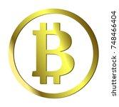 golden bitcoin icon. vector. | Shutterstock .eps vector #748466404