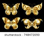 set of artistic  jewelry  gold...   Shutterstock .eps vector #748472050
