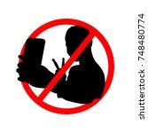 do not selfie pattern...   Shutterstock .eps vector #748480774