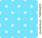 white snowflakes and dots with... | Shutterstock .eps vector #748496659