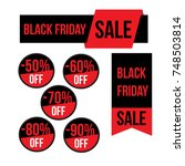 black friday sale round banners ... | Shutterstock .eps vector #748503814
