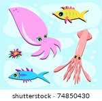fish and squid with flower | Shutterstock .eps vector #74850430