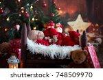 portrait of newborn baby in... | Shutterstock . vector #748509970