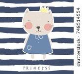 Stock vector cute princess cat vector print 748514554