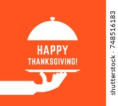 happy thanksgiving text with...   Shutterstock .eps vector #748516183