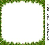 christmas tree decorated frame... | Shutterstock . vector #748521550