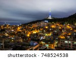 seoul namsan tower view at... | Shutterstock . vector #748524538