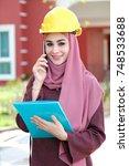 engineer in action | Shutterstock . vector #748533688