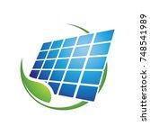 green solar energy logo vector | Shutterstock .eps vector #748541989
