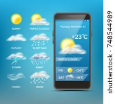 weather forecast app vector.... | Shutterstock .eps vector #748544989