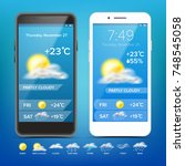 weather forecast app vector.... | Shutterstock .eps vector #748545058