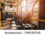classic brown leather seats in... | Shutterstock . vector #748550740