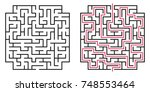 abstract maze  labyrinth with... | Shutterstock .eps vector #748553464