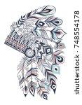 boho illustration with... | Shutterstock .eps vector #748554178