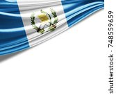 guatemala flag of silk with... | Shutterstock . vector #748559659